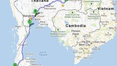 صورة المسافات بين مدن تايلند