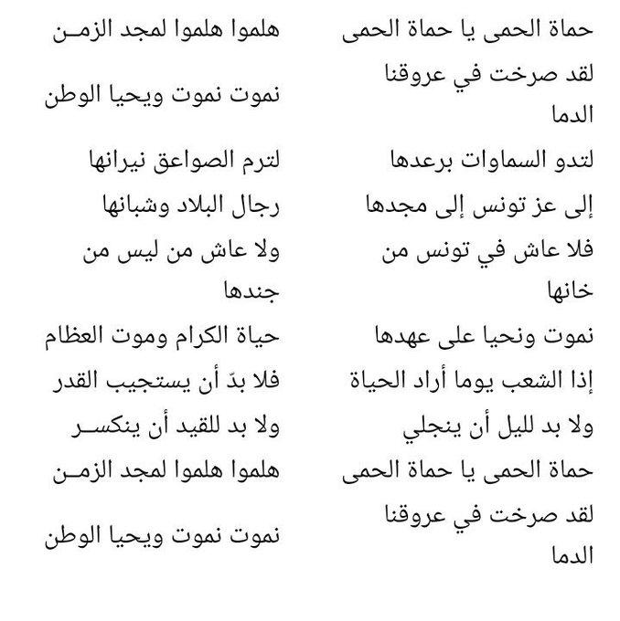 معلومات عن النشيد الوطني التونسي